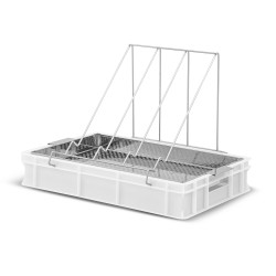 Plastic uncapping tray with stainless strainer (H - 100mm)
