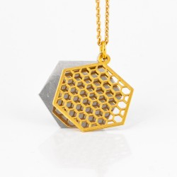 Plain hexagon necklace - gold-plated with silver elements