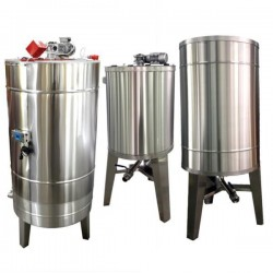 Stainless steel tank 1000 l, with stirrer and heating