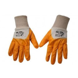 Rubber coated gloves with short cuff
