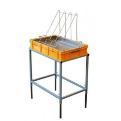 Uncapping table with plastic tray and stainless strainer (H - 100 mm)