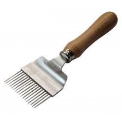 Uncapping fork with wooden handle, straight pins