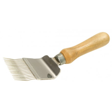 Uncapping fork with wooden handle, cranked pins